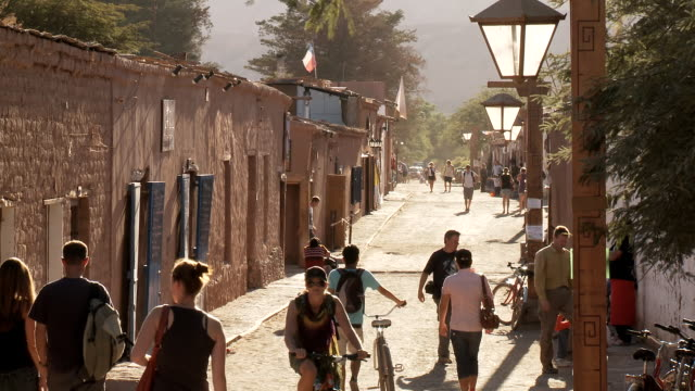 WS View of People walking on street / San Pedro de Atacama, Norte Grande, Chile