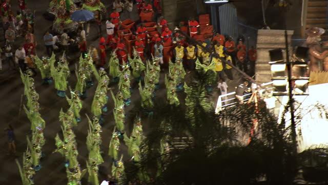 MS AERIAL View of Performance of Sambadrome Marques de Sapucai carnival / Rio de Janeiro, Brazil