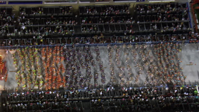 ms aerial view of performance of sambadrome marques de sapucai carnival / rio de janeiro, brazil - brazil stock videos & royalty-free footage