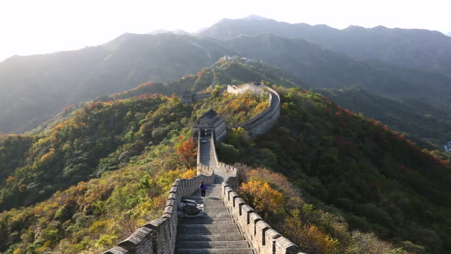 ws view of person walking on great wall mutianyu / huairou,â china - mutianyu stock videos & royalty-free footage