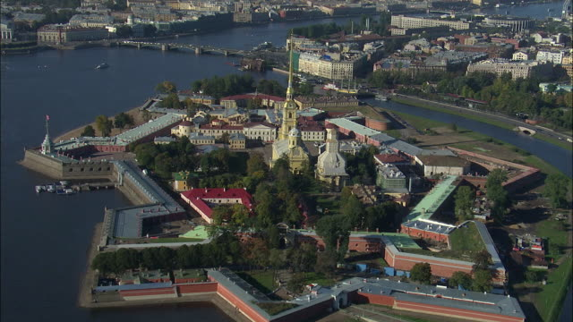 WS POV AERIAL View of peter and Paul cathedral in fortress / Saint Petersburg City, St Petersburg Province, Russia