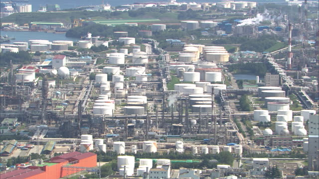view of petrochemical plant in ulsan at daytime - wirbelloses tier stock-videos und b-roll-filmmaterial