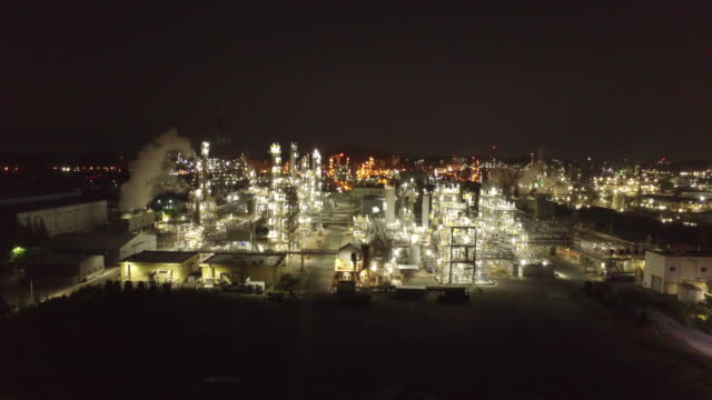 view of petrochemical plant in ulsan at night time - refinery stock videos & royalty-free footage
