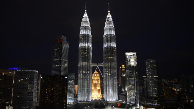 WS View of Petronas Towers at night / Kuala Lumpur, Malaysia