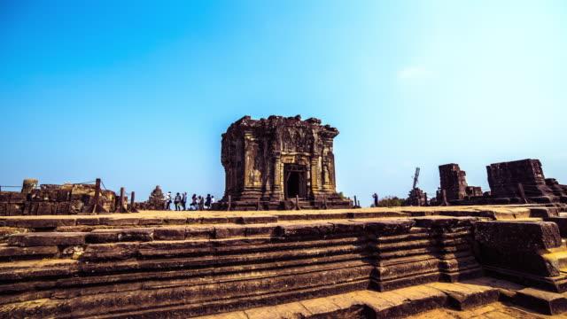 MS POV TS T/L View of Phnom Bakheng Hindu temple in Siem Reap, Angkor Wat / Angkor, Siem Reap, Province Colombia