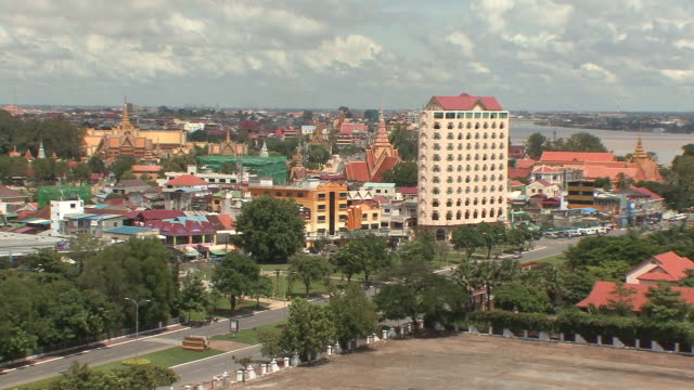 ws view of phnom penh city / phnom penh, cambodia - cambodian culture stock videos and b-roll footage