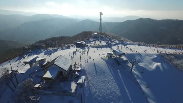 view of phoenix snow park in pyeongchang, gangwon-do province, south korea - skiing stock videos & royalty-free footage
