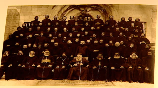 view of photograph of patriarch elias boutros hoayek sitting in the front middle. he was the 72nd maronite patriarch of antioch from 1899 to his... - 1899 stock videos & royalty-free footage