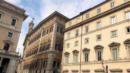 View of Piazza Colonna in Rome with the Montecitorio building housing the Chamber of Deputies and the facade of Palazzo Chigi, home of the Prime Minister and the Italian Government