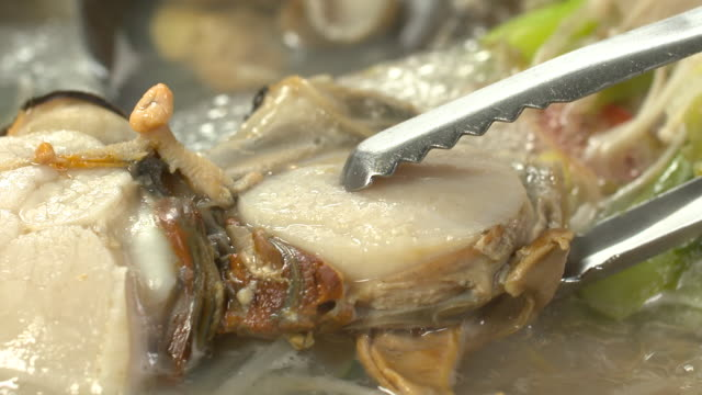 vídeos de stock e filmes b-roll de view of picking up clam meat with tongs - concha utensílio de servir