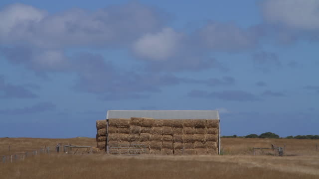 ms view of picturesque hay stack and sky / port fairy, victoria, australia - hay stack stock videos & royalty-free footage