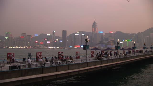 view of pier at magic hour in hong kong china - central plaza hong kong stock videos & royalty-free footage