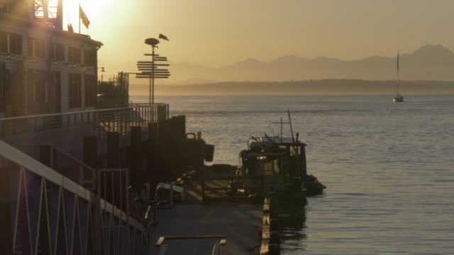 view of pier, bainbridge island and elliott bay at sunset, seattle, washington state, united states of america, north america - elliott bay bildbanksvideor och videomaterial från bakom kulisserna