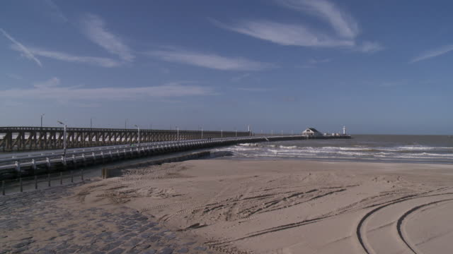 ws view of pier of blankenberg / blankenberg, flanders, belgium - coastline stock videos & royalty-free footage