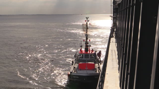 ws view of pilot boat on river elbe near brunsbuttel, schleswig holstein / hamburg, germany - schleswig holstein stock videos & royalty-free footage