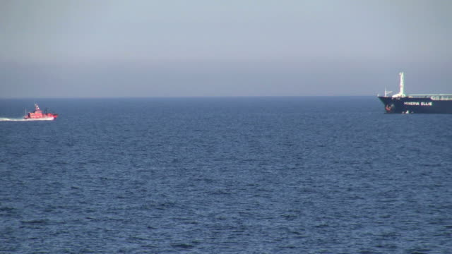 ws ts view of pilot ship and tanker on baltic sea near gdynia / baltic sea, poland - baltic sea stock videos and b-roll footage