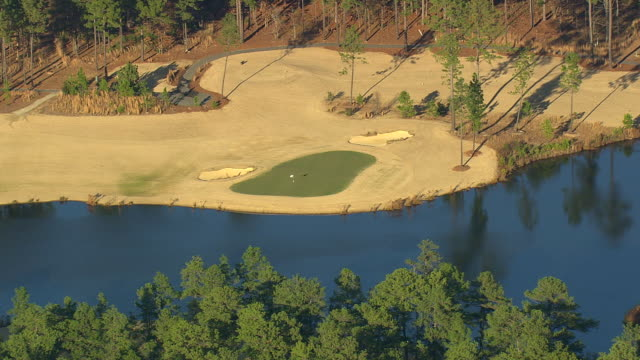 MS AERIAL View of pinehurst golf course with lake / North Carolina, United States