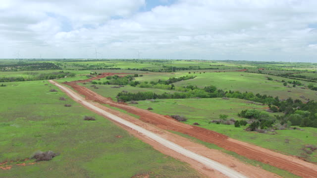 WS AERIAL View of Pipeline construction site for Natural Gas Pipeline Construction in Dewey county / Oklahoma, United States