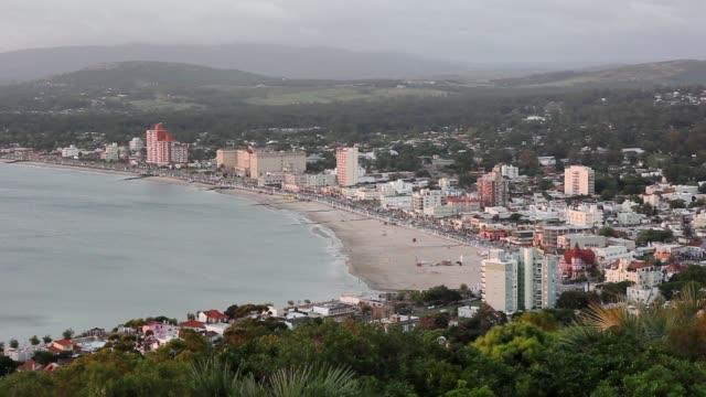view of piriápolis from cerro san antonio (san antonio hill) - 波打ち際点の映像素材/bロール