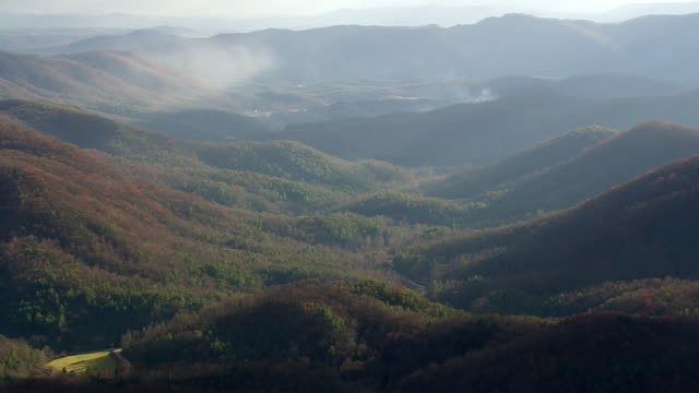 ws aerial view of pisgah nat forest and blue ridge parkway / north carolina, united states - appalachen region stock-videos und b-roll-filmmaterial