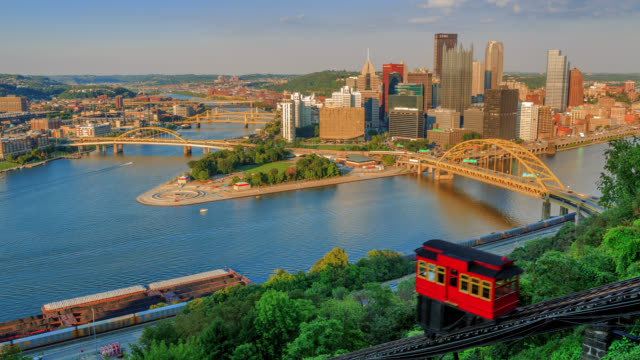 t/l view of pittsburgh skyline and point state park from the duquesne incline / pittsburgh, pennsylvania, usa - pittsburgh video stock e b–roll