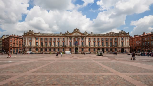 view of place du capitole in toulouse, france - toulouse stock videos & royalty-free footage
