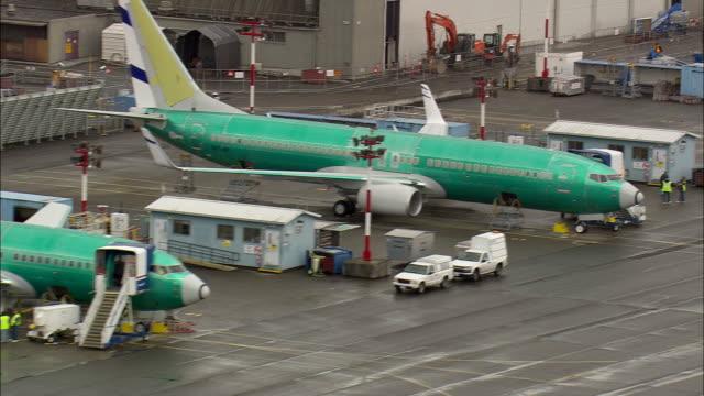 WS AERIAL View of plain at Renton Boeing factory near Seattle / Washington, United States