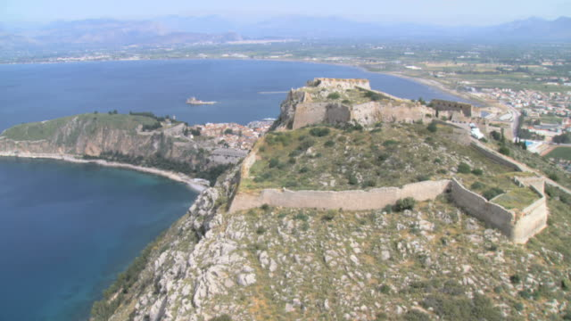ws aerial view of plamidi and akro castle in nafplio / nafplio, peleponnesus, peloponnese, greece - mediterranean culture stock videos & royalty-free footage