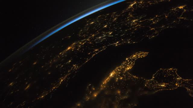 vídeos y material grabado en eventos de stock de view of planet earth from space, point of view from the international space station (iss) - espacio y astronomía