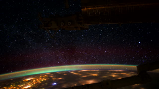 ISS View of Planet Earth: Milky Way, Stars and Aurora Borealis