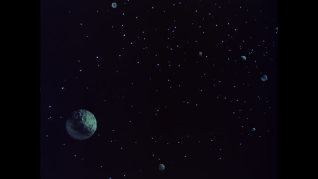 WS POV View of planets and stars at space / United States
