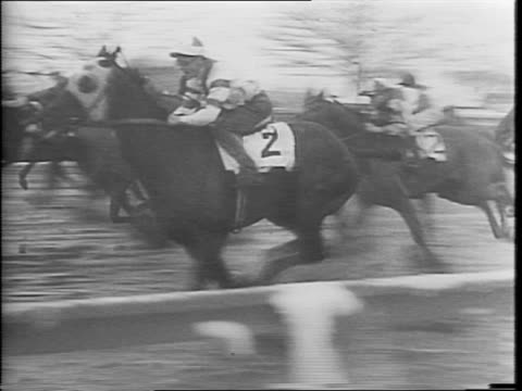 view of planted flowers near a race track / wide view of a muddy horse racing track / a man's feet walking through the muddy track / people in the... - 厩舎点の映像素材/bロール