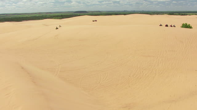 ws aerial view of plants growing with atvs driving in large sand dunes at little sahara state park in woodward county / oklahoma, united states - quadbike stock videos & royalty-free footage