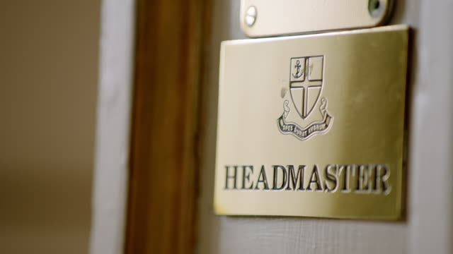 ecur/f view of plaque for headmaster at kimbolton school / cambridgeshire, united kingdom - boarding school stock videos & royalty-free footage