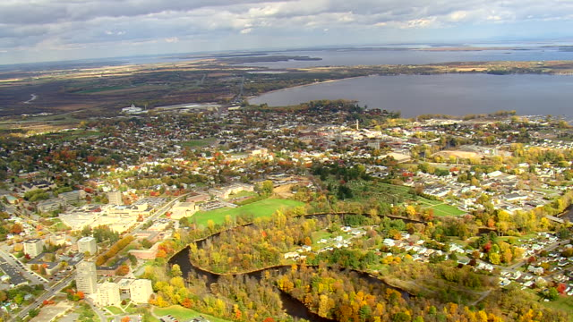 ws aerial view of plattsburgh town at near bay / new york, united states - plattsburgh stock videos and b-roll footage
