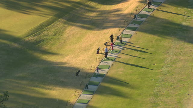 MS AERIAL View of players practicing at pinehurst golf course / North Carolina, United States