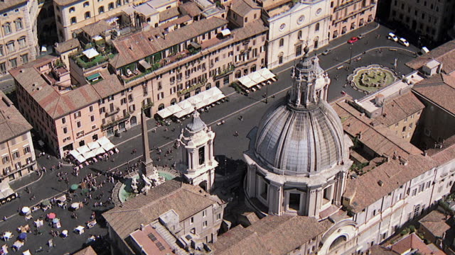 WS AERIAL DS View of Plaza Navona with church is St Agnese in Agone / Rome, Italy