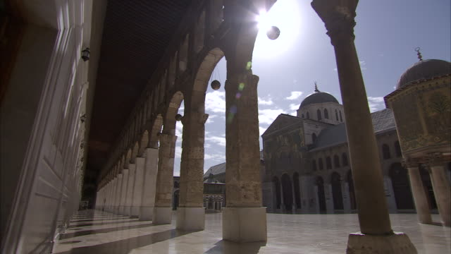 WS PAN view of Plaza of Mosaic Mosque / Damascus, Syria