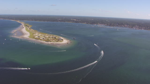 ws aerila pov view of plymouth beach with harbour in distance / plymouth, massachusetts, united states - massachusetts stock-videos und b-roll-filmmaterial