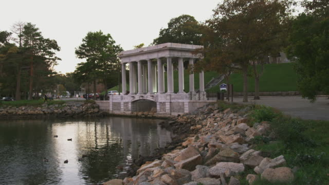 ws view of plymouth rock / boston, massachusetts, usa - new england usa stock videos & royalty-free footage