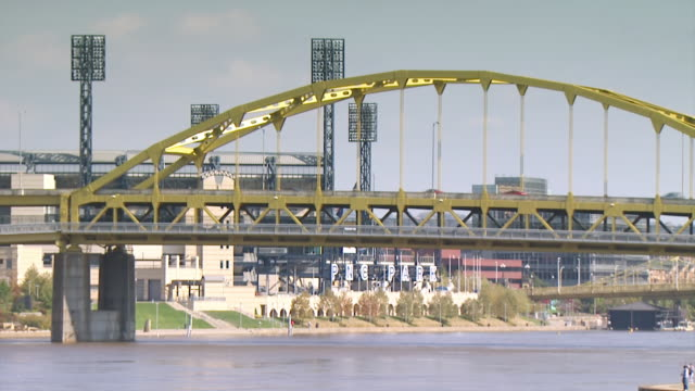 WS View of PNC Park sign and bridge going over Allegheny River / Pittsburgh, Pennsylvania, United States