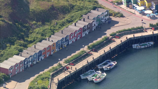 aerial ms view of port / heligoland, schleswig-holstein, germany - helgoland stock videos & royalty-free footage