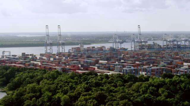 WS AERIAL POV View of Port of Charleston / Charleston, South Carolina, United States