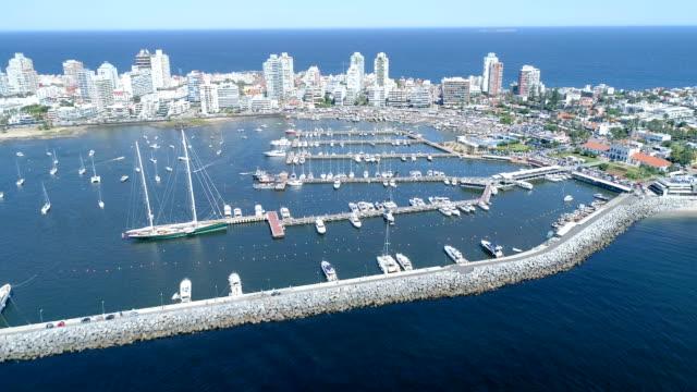 vídeos y material grabado en eventos de stock de view of port of punta del este, aerial view, drone point of view, uruguay - uruguay