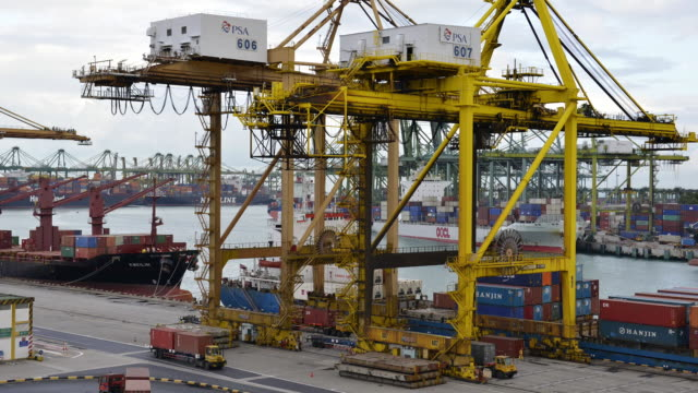 ws t/l ha view of port terminal with loaders and containers / singapore - loading stock videos & royalty-free footage