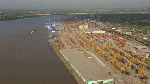 ws aerial view of port with crains and containers / new orleans, louisiana, united states - new orleans stock videos and b-roll footage