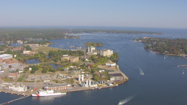 ws view of portsmouth naval shipyard / kittery, maine, united states - kittery stock videos & royalty-free footage