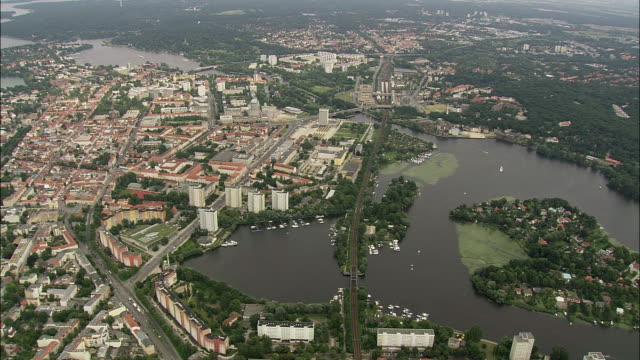 aerial view of potsdam, brandeburg, germany - potsdam brandenburg stock videos & royalty-free footage