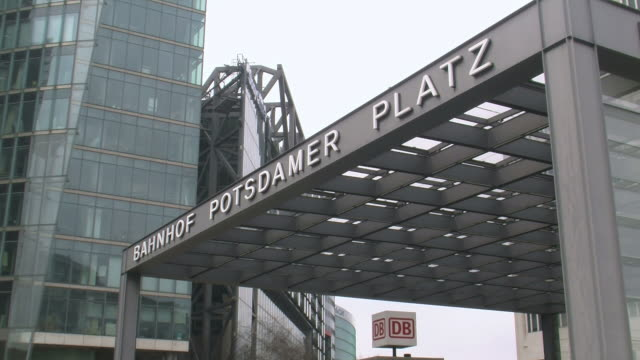 stockvideo's en b-roll-footage met ms view of potsdamer platz railway station / berlin, germany - westers schrift