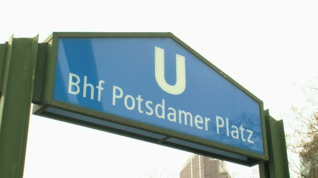 stockvideo's en b-roll-footage met cu view of potsdamer platz subway station / berlin, germany - westers schrift